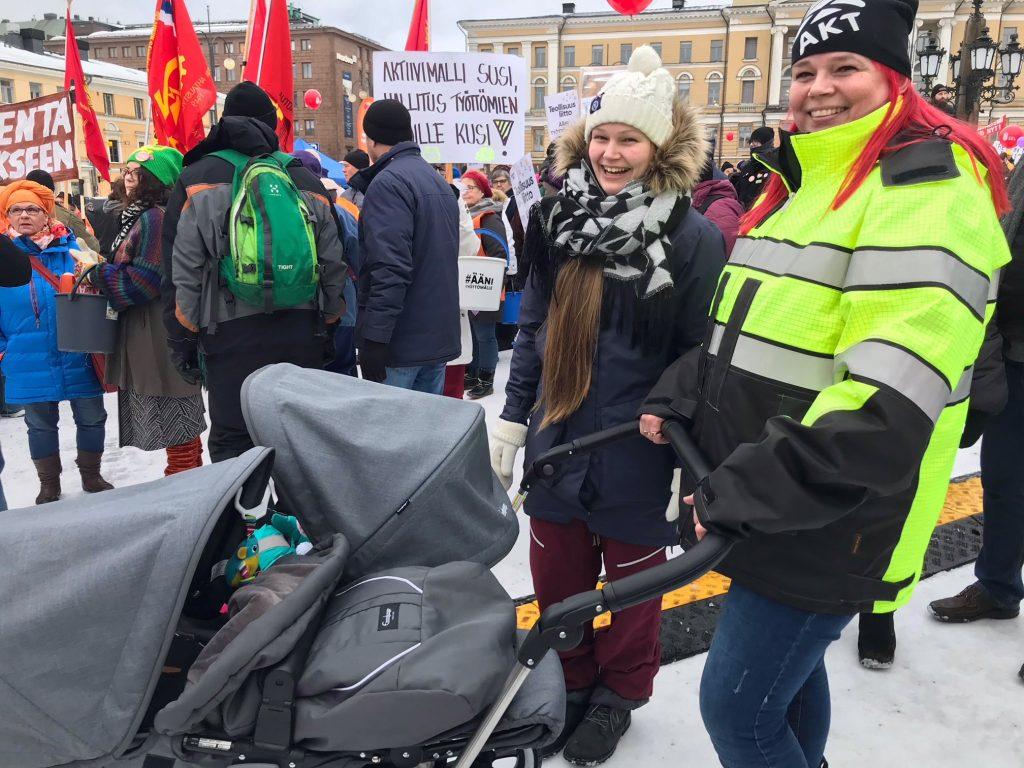 Ääni työttömälle -mielenilmaus aktiivimallia vastaan 2.2.2018